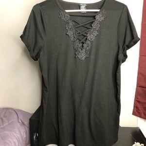 Never worn crisscross black Torrid t-shirt